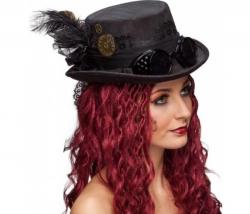 Zylinder Steampunk Lady schwarz