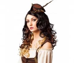 Piratin Minihut mit Feder braun