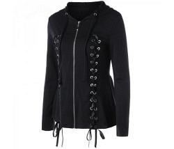 Jacke schwarz mit Kapuze Gr. L